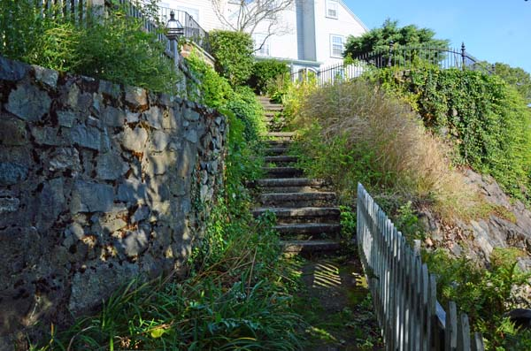 Stairs at the top of Prospect Alley looking up hill